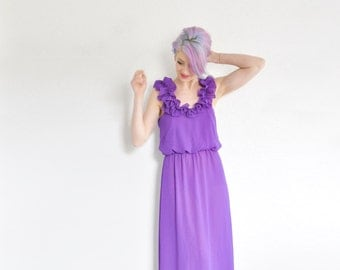 1970 neon PURPLE floral shoulder gown . floor length maxi goddess dress .small.medium .sale