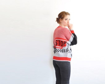 FUN . STOP . novelty kitsch sweater . red black gray .medium.large .sale