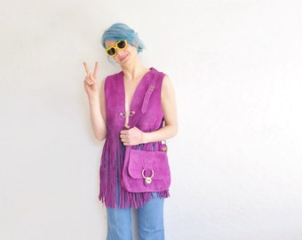 purple nubuck suede leather purse . retro boho hippie metal clasp shoulder bag