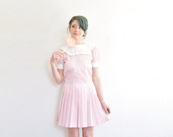 pink candy striper dolly dress . 1980 sweet shoppe little girl frock .extra small.small.xs