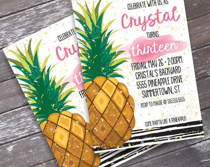 Pineapple Party Invitation - Pineapple Birthday, Party Like a Pineapple, Luau, Hawaiian  | Editable Text - Instant Download PDF Printable