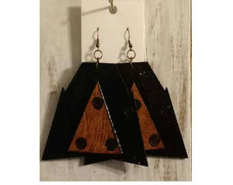 Geometric Handmade Earrings Wood Large Wooden Statement Ethnic Afrocentric Tribal mPERFEKtion Earrings for Women by Crittique - #mPER91
