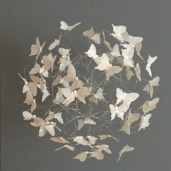 White Bedroom Decor, Butterfly Decor, Hanging Butterfly Mobile