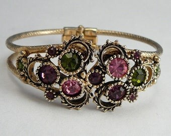 Sarah Coventry Pink Purple Green Rhinestone Bracelet Hinged Clamper