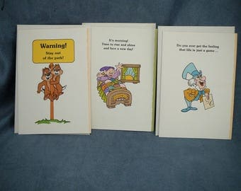 Vintage Disney Greeting Cards Mad Hatter Snow White Chipmunks - 3 WDP Walt Disney Productions