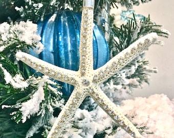 Starfish Christmas Ornament with Swarovski Crystals - natural Beach Star Fish Seashell Seashells Sea Shell Sea Shells