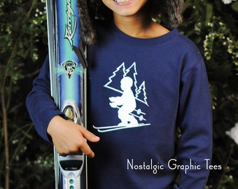 Ski Slope for Boys by Nostalgic Graphic Tee in Navy with White Crystal Ink