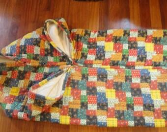 Vintage Patchwork Blanket with Sleeves Zip Up Wrap