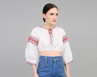 Vintage 70s White Embroidered Top | Peasant Top | Boho Crop Top | Hippie Cropped Blouse | Long Sleeve Shirt | Red Black | Small Medium S M