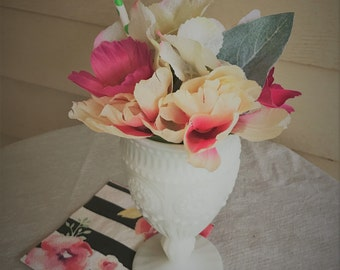 Pink ice cream sunday faux flower arrangement, birthday party decor, girly party flowers, pink flower arrangement