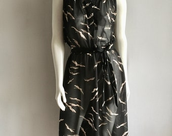 Vintage Women's 70's Jody T, Sheer Dress, Black, Cream, Sleeveless, Knee Length (M)