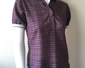 Vintage Women's 80's Checkered Blouse, Short Sleeve, Top  by Notches (M)