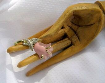 Enamel Brooch Vintage 80s Jewelry Pink Rose Rhinestone Pin