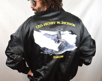 Awesome 80s Vintage Henry M. Jackson  SSBN 730 Submarine USA Military Satin Button Up Jacket