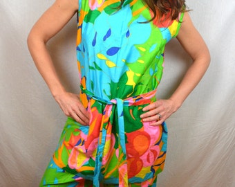 WOW Vintage 1960s 60s Rainbow Swirl Psychedelic Mode O Day Outfit Dress