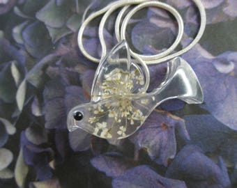 Dove Of Peace-Pressed Flower Resin Dove Pendant with White Queen Anne's Lace-Symbolizes Peace-Nature's Wearable Art-Gifts Under 30