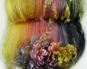 Carpe Diem Wild Card Bling Batt for spinning and felting (4.3 ounces), batt, art batt