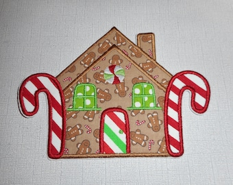 Free Shipping Ready to Ship Gingerbread House Fabric Iron on applique