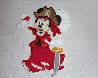 Free Shipping Ready to Ship Pirate Girl Machine Embroidery Iron on applique