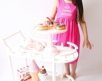 She loves donuts dress -  Pink and White