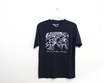 EXPLORE MORE Print. Sustainable Tee. Bamboo Tshirt. Mens Hiker Tshirt. Explorer Tshirt. Gifts for Dad.  Mountain Tee Pnw BC Tshirt Vancouver