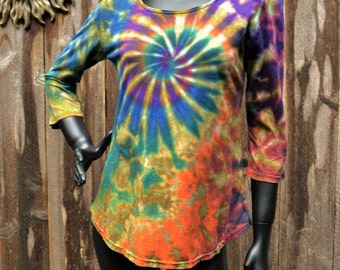 Earthy Delight - 3/4 sleeve Scoop Neck Top, Hippie clothes, Festival wear, Bohemian clothing, plus size top, tie dye shirt,