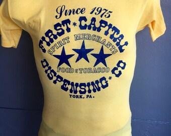 First Capital Dispensing Company York Pennsylvania 1980s vintage tee shirt - soft yellow size medium/small