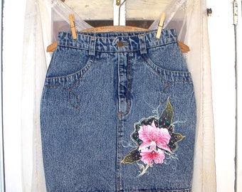 vintage 80s hand-painted orchid acid wash high waist fitted denim skirt