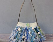 Bohemian Seashell Felt Bag, Knitted Seafoam Felted Wool Bag, Gypsy Style Dream catcher, Blue, White, Teal and Green Shoulder bag