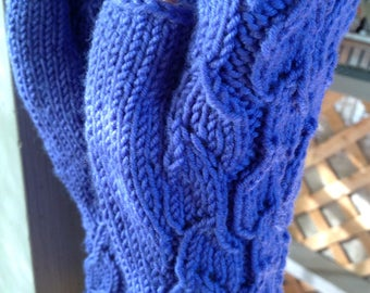 Merino Blue Fingerless Gloves