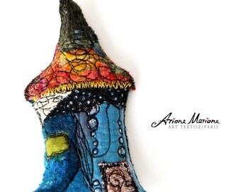 Blue Multicolor Mini Art Brooche - Miniature House Pin Felt Embroidery  - Original Art - Slow Design - France, Paris