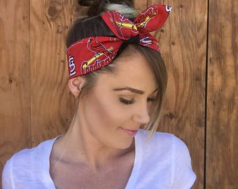 St. Louis Cardinals Dolly Bow Reversible Pin Up Rockabilly Dolly Bow Twist Tie Up Baseball Headband Headscarf Hair Band Head Wrap Missouri