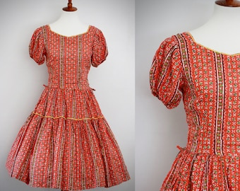 Vintage 1950s 1960s | Squaw | Square Dance | Rockabilly | Patio Dress | Western Fashions Tiers | Red Orange Yellow White Green Rick Rack S/M