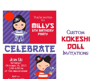Kokeshi Doll Party Invitation, Tea Party Birthday Party, Asian Inspired 5x7 Birthday Invitations, Girls Birthday Invite