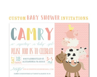 Farm Animal Baby Shower Invitation, Custom Party Invite, Baby Girl, Personalized 5 x 7 Party Invitation, paper and party supplies