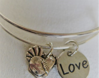 Chicken Love Stainless Steel adjustable Wire Bangle Bracelet