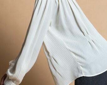 Vintage 80s Striped Sheer Chiffon High Neck Blouse   L/XL