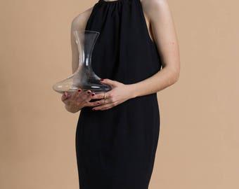 Vintage 90s Black Close Neck Dress / Sleeveless Wiggle Dress / Small 4