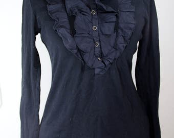 Versatile Black Top with Ruffle Front, Long Sleeve Knit Blouse, Faux Jabot, Mandarin Collar, Half Front Snap Fasten Front Shirt