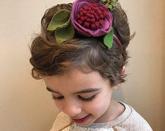 Felt Flower Headband - Matilda Jane Friends Forever Plum cranberry