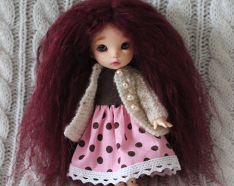 Beautiful Burgundy mohair wig for Pukifee / Lati Yellow / other small doll