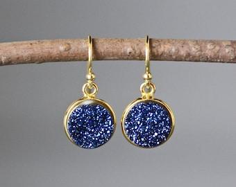 Blue Druzy Earrings - Druzy Quartz Earrings - Gold Earrings - Druzy Jewelry - Sparkling Earrings - Bridal Jewelry - Evening Jewelry - Gift