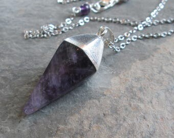 Amethyst Pendulum Necklace - Crown Chakra Necklace - Chakra/Minimalist/Metaphysical Jewelry