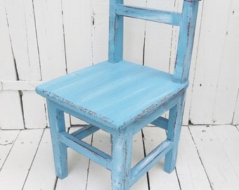 Blue Chair, Childs Chair, Small Chair, Farmhouse Decor, Weathered Chair, Rustic Decor, Shabby and Chic, Childrens Room Decor, Kids Furniture