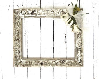 French Cottage Frame, Vintage Frame, Rustic Chic Frame, Ornate Frame, Shabby Cottage Decor, 11x14 Frame, Weathered Frame, Wall Frame