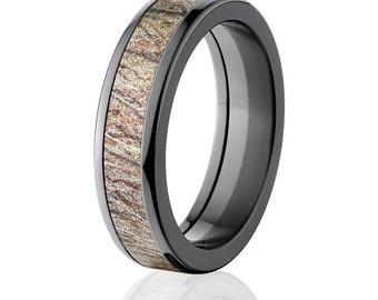 New 6MM Flat Branded Mossy Oak -Brush, Black Zirconium Ring, Brush Pattern: 6HR-MO-Brush
