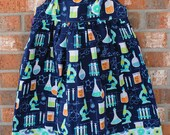 Girl Power Blue Turquoise and Green Science Themed Tie Dress Size 7 Ready to Ship