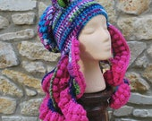 Octopus Crochet Hat Squid Slouchy Beanie Blue Pink Kraken Sea Monster Creature with Pink Tentacles Costume Ready to Ship Amigurumi Cthulhu