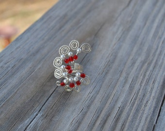 Sterling Silver Wire Wrap Red and Pearl Ring Size 6 Women's Statement Adjustable Wife Anniversary Mother Christmas Ready to Ship Valentine