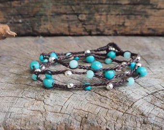 Mix Turquoise Braid Triple Wrap Silver Bracelet